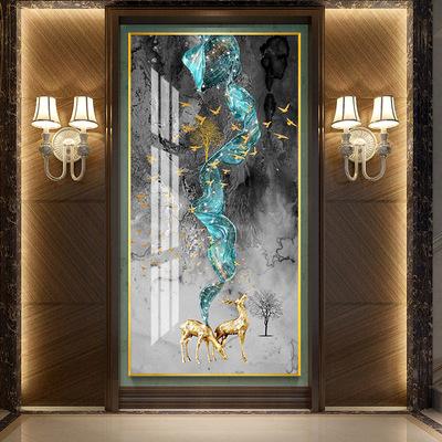 货源浩隆正版晶瓷画花卉5D镶钻烤瓷晶钻画铝合金框轻奢三联客厅装饰画批发
