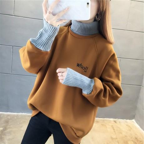 Cộng với nhung cao cổ áo len nữ 2019 mùa thu và mùa đông phiên bản tiếng Hàn mới là thời trang mỏng áo ấm với một phụ nữ bán buôn cổ áo lông thú