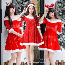 厂家直销圣诞红色烫钻连衣裙女圣诞节万圣节夜店舞会派对演出服