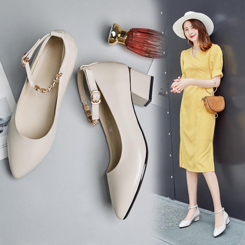 女士浅口皮鞋中跟一字扣粗跟单鞋婚鞋女鞋春秋软底工作鞋子女