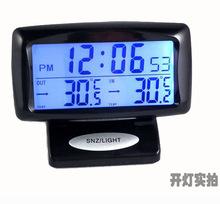 包郵 車內外雙溫度 車用電子時鐘表 汽車電子鐘 車載溫度計夜光