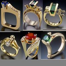 臻荣wish速卖通亚马逊跨境专供镀黄金祖母绿珍珠现代modern戒指女