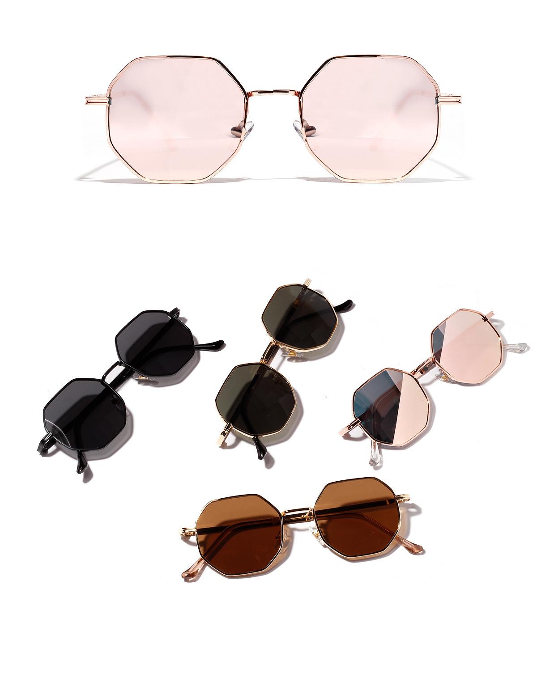 New Fashion Round Retro Metal Small Frame Polygonal Sunglasses NHXU205410