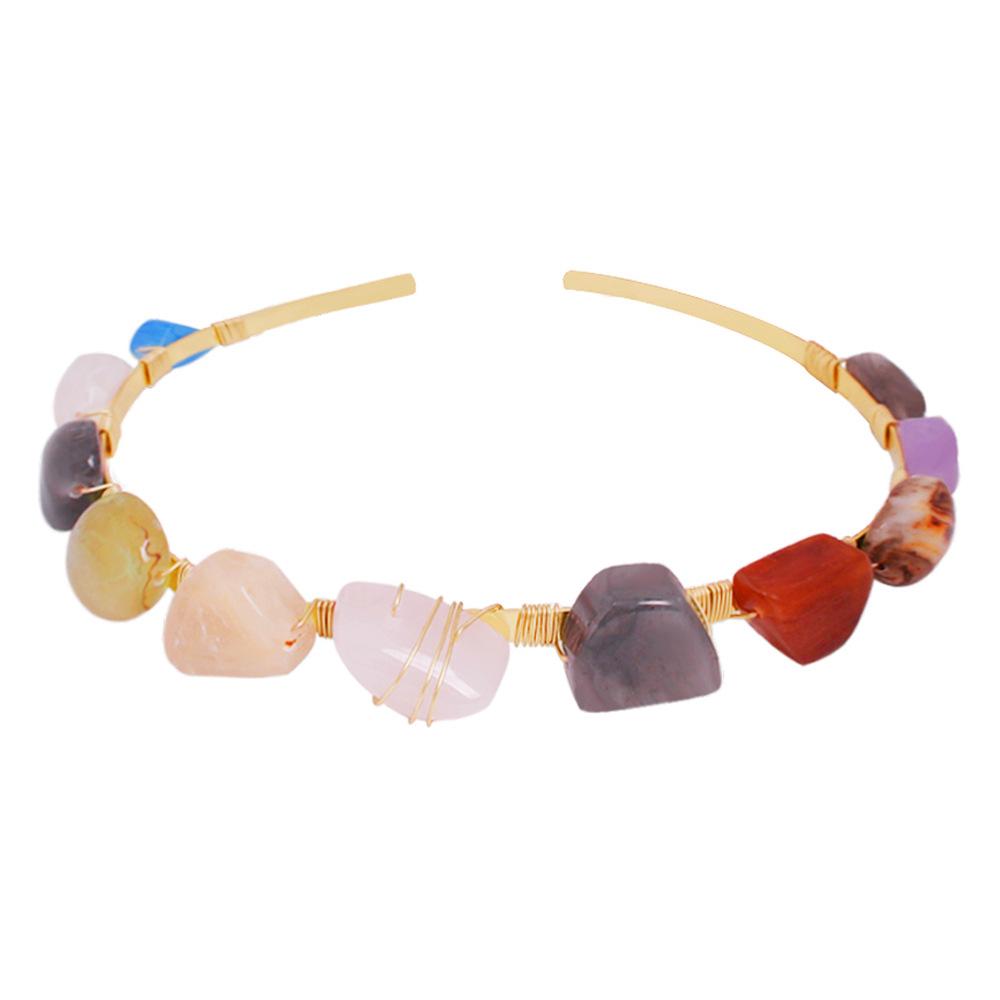 Womens Ushaped alloy shell natural stone headband Hair Accessories NHMD123436