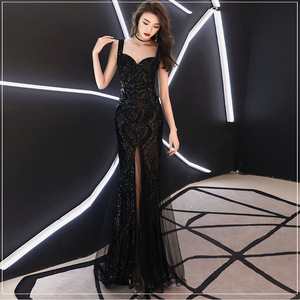 Evening dresses prom dress Robes de soirée evening gowns Red lady fishtail long dress Sequin sling evening dress party