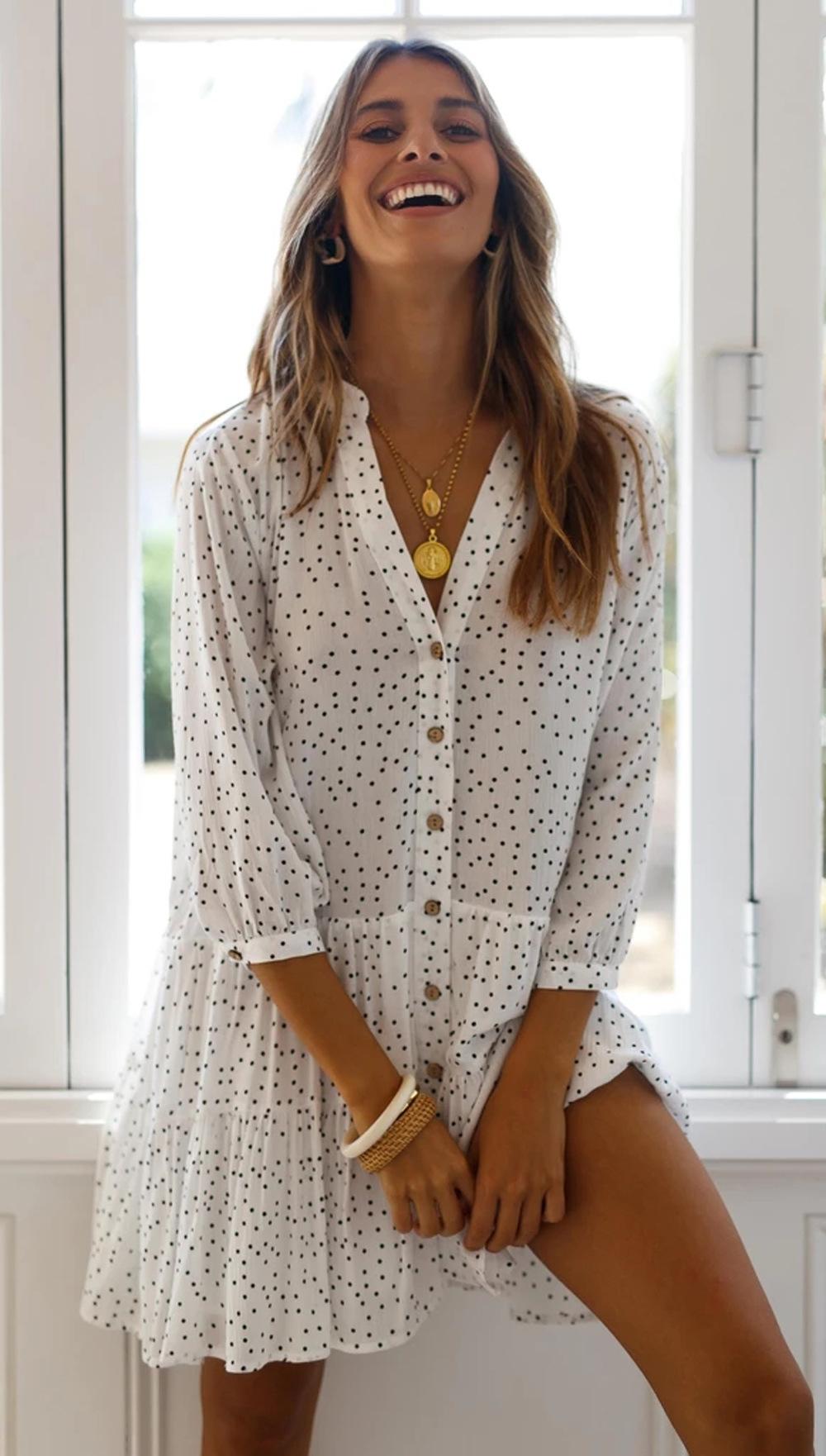 wavelet dot print nine-point sleeve single-breasted loose short dress NSDF1608