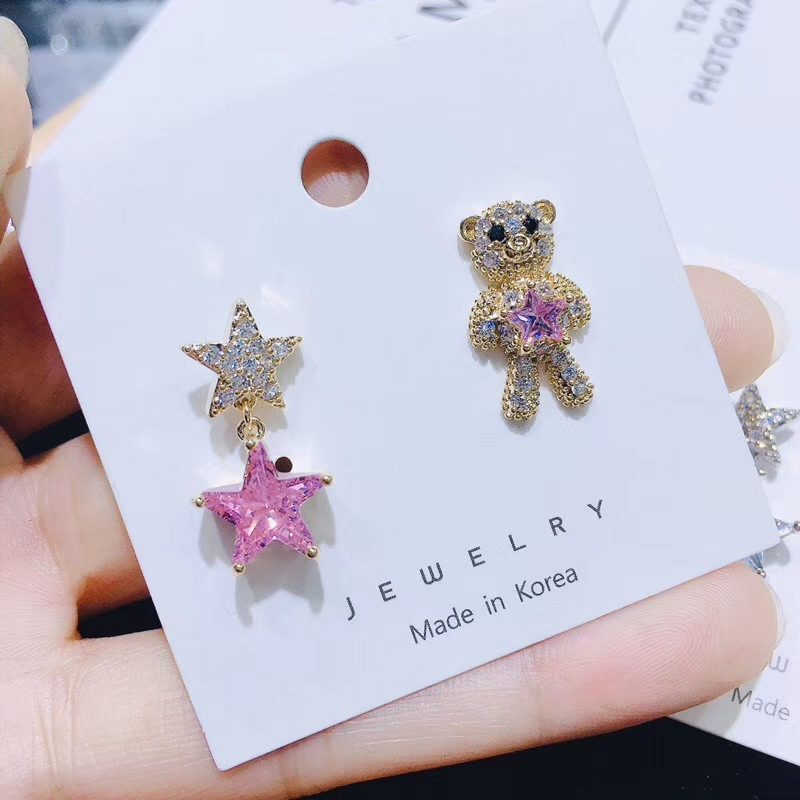 WomensFashion sweet bear earrings asymmetric stars animal earrings NHWK127236