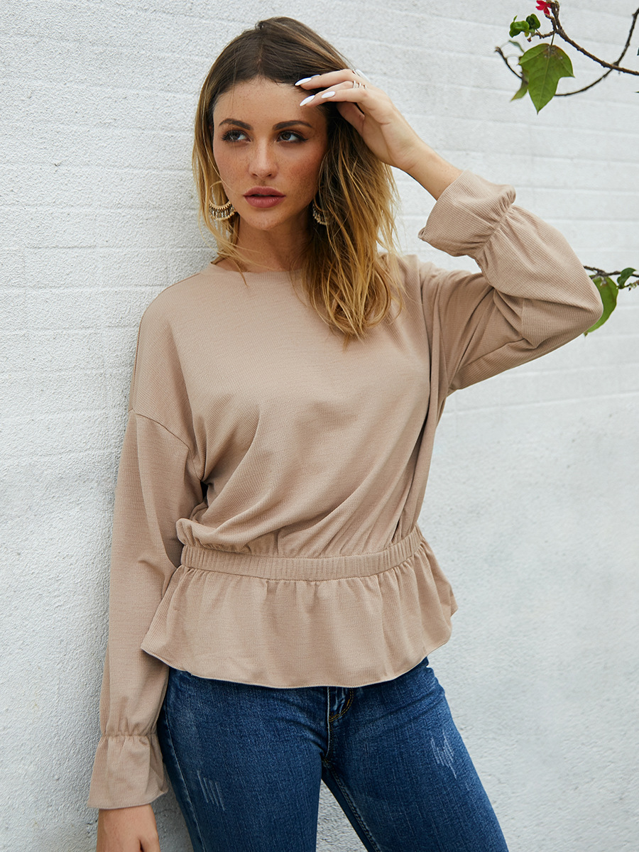 solid color long-sleeved top NSAL2875