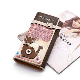 跨境新款女士手拿钱包韩版长款三折钱夹猫咪个性皮贴手机零钱包pu