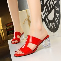 BM2 Korean fashion summer women's shoes crystal heel transparent thick heel high heel lacquer square head fish mouth hollow slippers