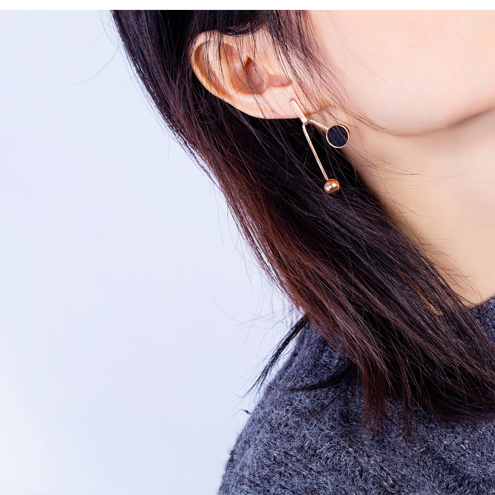 Korean fashion accessories girl long wild titanium steel earrings tassel bead earrings NHOPK197570