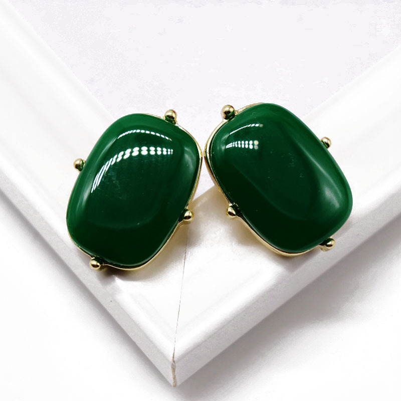Vintage Stud Earrings Green Ellipse Square 925 Silver Stud Earrings Green Resin Gem Stud Earrings NHOM177575