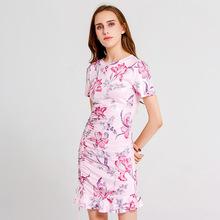 跨境熱賣春夏新款修身氣質荷葉裙擺連衣裙  印花包臀針織中腰裙子