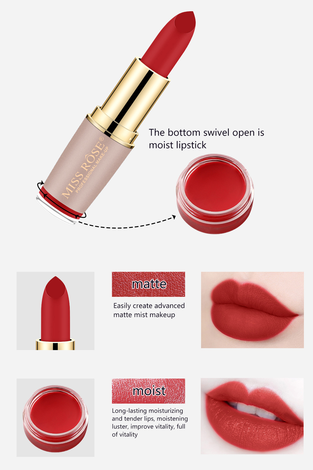 Four-color matte lipstick brick gold tube lipstick is not easy to bleach lipstick #27 4