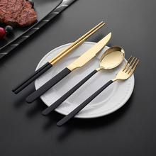 酒店镀钛韩式刀叉勺304不锈钢韩式勺筷子四件套长柄冰勺调羹勺子