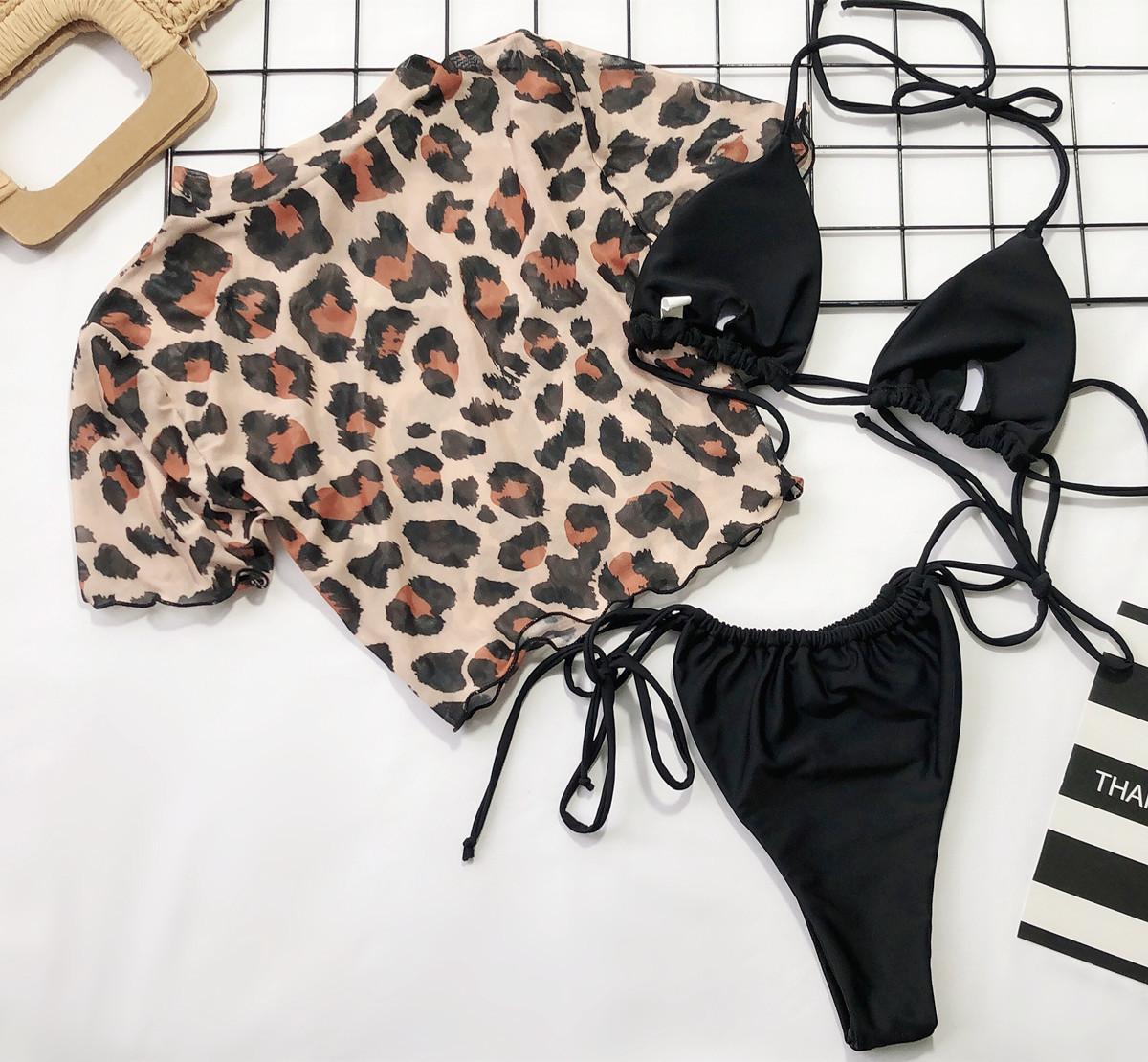 hot print split swimsuit sexy half sleeve three-piece bikini leopard print bikini wholesale NSDA133