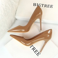 9511-6 European and American style, fashionable, simple, thin, super high heel, bright surface, patent leather, shallow mouth, pointed head, sexy and thin women's single shoes