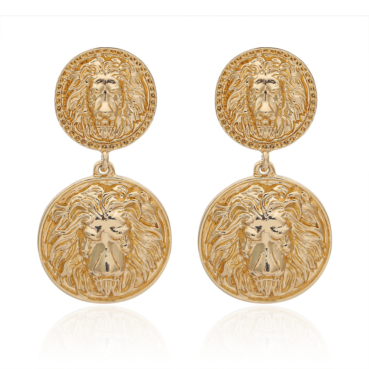 Vintage lion head embossed alloy earrings NHXR146638