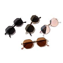 迅格眼镜19620圆形复古金属太子镜 复古小框墨镜男 多边形太阳镜