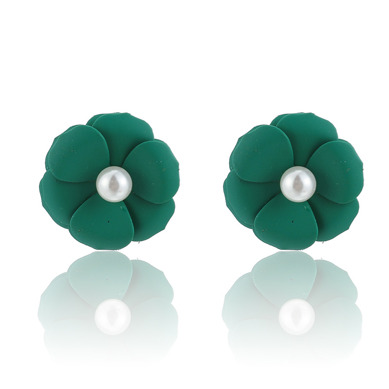 Fashion wind drop flower pearl candy color alloy earrings NHGY155151