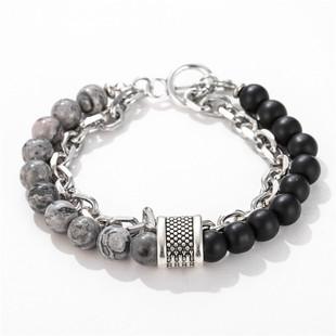Cross-border source jewelry fashion punk style frosted stone chain combination geometric type men's bracelet bracelet accessories men
