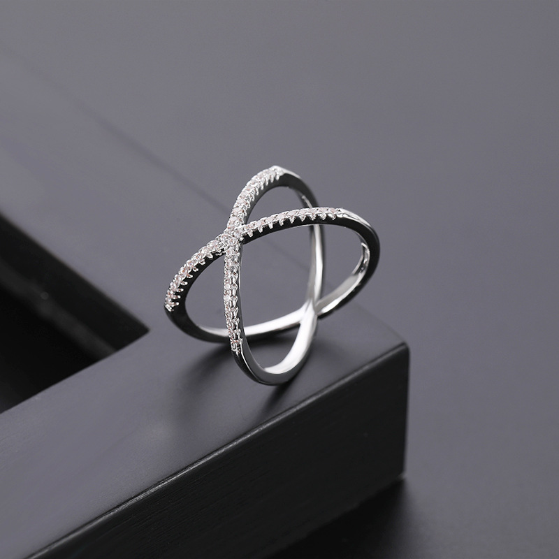 New flash drill micro inlaid zircon ring women cross ring NHQL172251