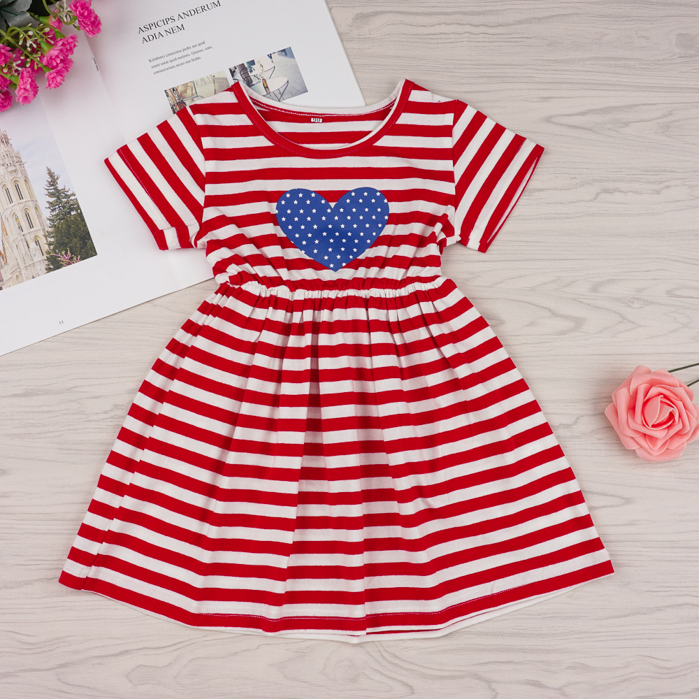 Amazon independence day hot red and white stripe star print Short Sleeve Dress