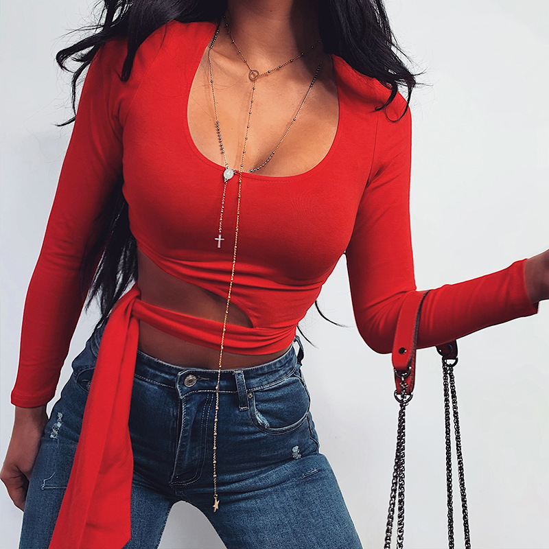 Waist Lace Up Open Navel Top  Solid Round Neck Sexy Hollow Fit Short Versatile Base Coat