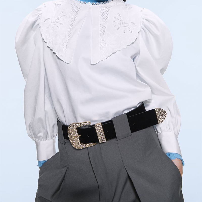 New fashion leather belt D-shaped alloy diamond belt simple clothing accessories wholesale NHJQ181701