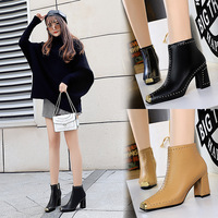 6863 Retro-Euro-American Style High-heeled Sexy Night Club Rock Boots Knight Boots Metal Square Head Riveted Shoes