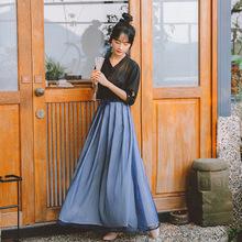 古风套装女2019夏季新款复古汉服写真雪纺半身裙+上衣两件套8709#