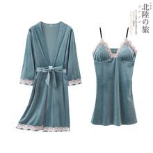 2019秋冬新款女士长袖睡衣高档宫廷保暖金丝绒睡袍睡裙性感两件套
