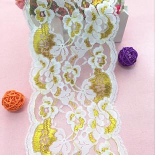 廠家直銷13cm金色蕾絲花邊 高品質無彈蕾絲花邊 服裝家紡輔料裝飾