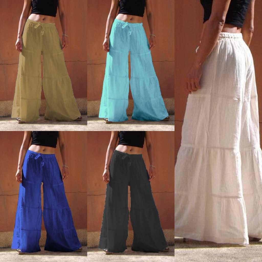 European and American foreign trade spring and autumn new large women's wear loose solid color wide leg pants elastic waist pants casual pants women
