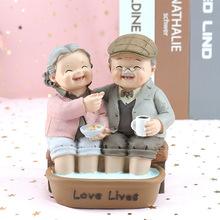 家居装饰爱相伴摆件白头偕老爷爷奶奶生日结婚纪念摆件情侣祝福