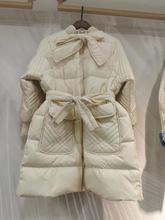2019韩国冬装新款时尚羽绒服女中长款珊珊同款蝴蝶结仙女公主外套