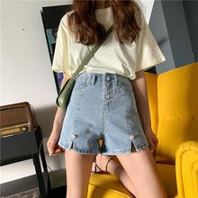 實拍韓國夏季新款~高腰A字立體釘珠花朵牛仔短褲
