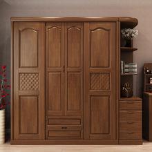 卧室中式实木整体四门推拉木质收纳移门衣柜组合拼接组装出租房
