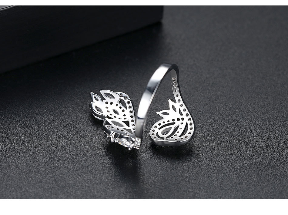 Creative fashion copper inlaid zircon opening female petals ring gift NHTM172223