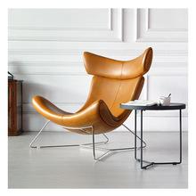 北欧网红真皮单人沙发椅现代简约卧室客厅酒店蜗牛椅轻奢休闲椅