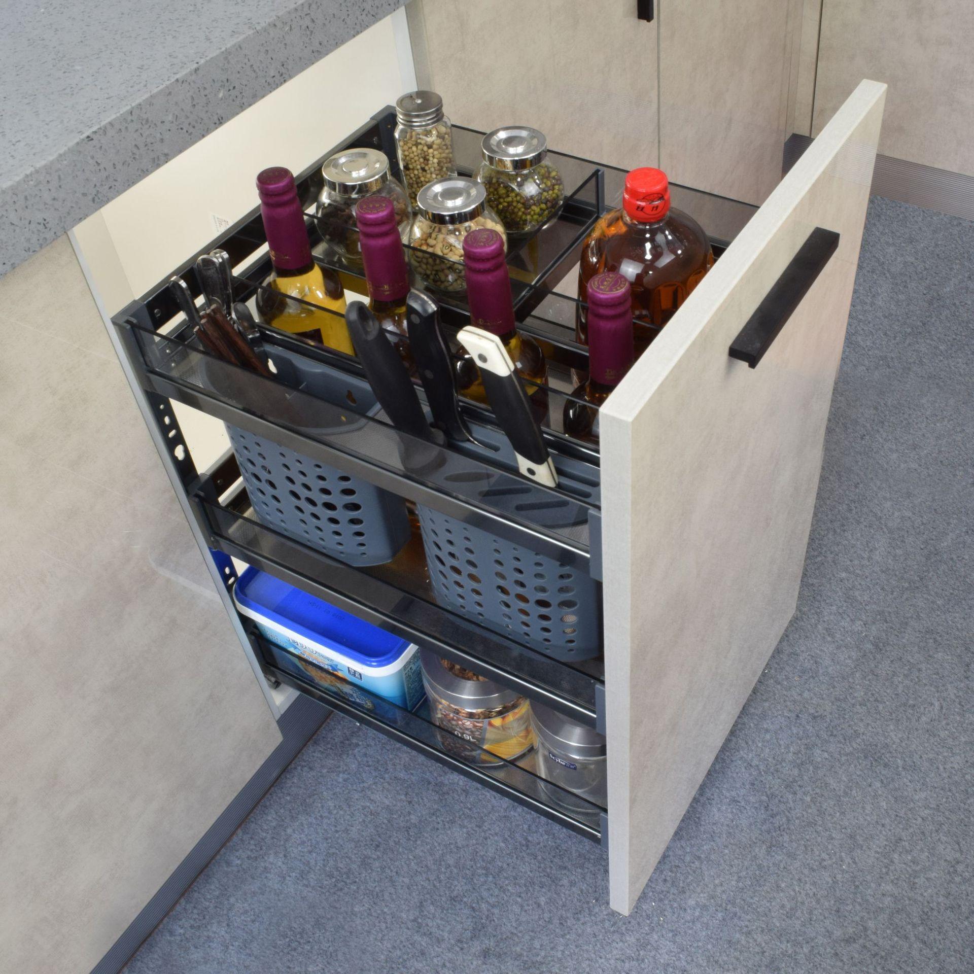厂家直销太空铝不锈钢拉篮 厨房橱柜拉篮调味瓶拉篮厨房置物架