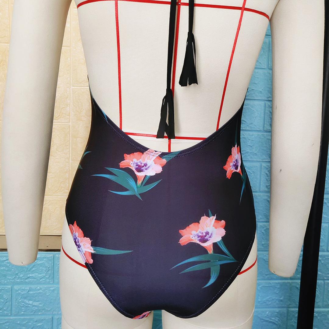 Bikini traje de baño de una pieza con estampado de borla NHNM154851