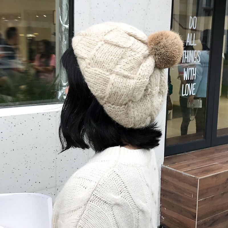 韩版兔毛球针织帽手工编织贝雷毛线帽秋冬季格子纯色保暖时尚帽子