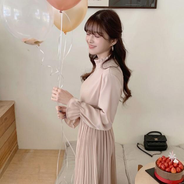 2020新品很仙长袖连衣裙 韩国立领百褶雪纺纯色连衣裙