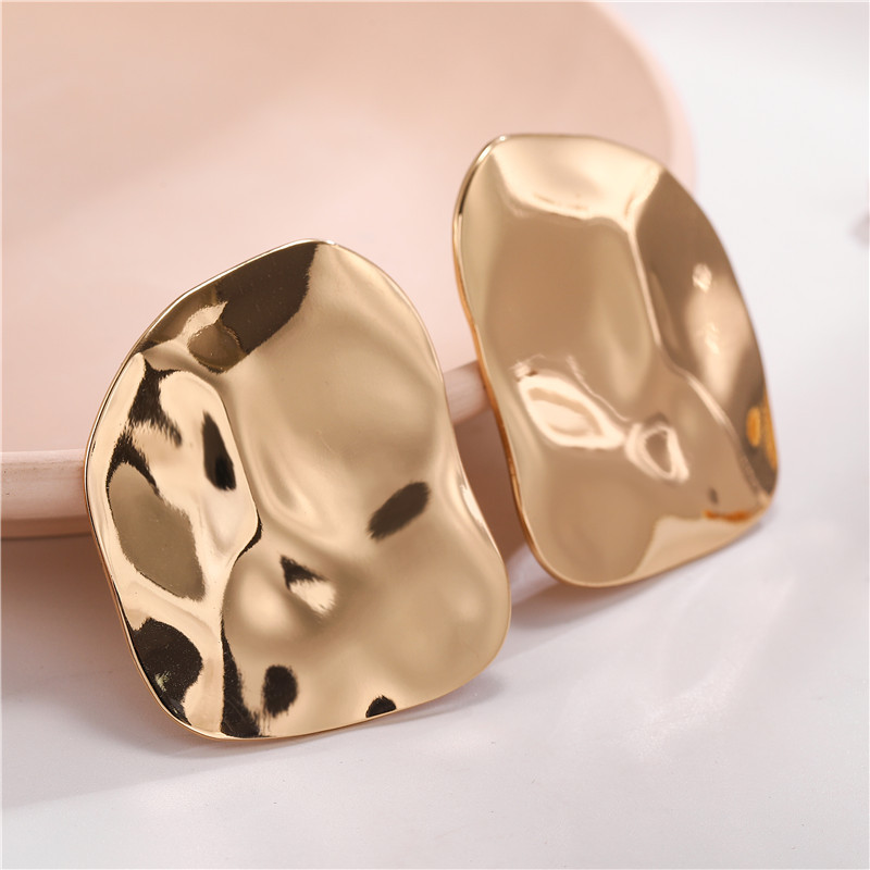 Exaggerated corrugated face glossy alloy earrings jewelry wholesale women NHZU196079