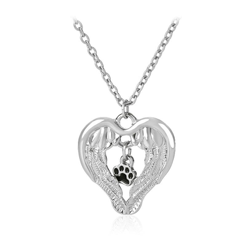 fashion creative fashion love wings empty dog paw pendant necklace accessories wholesale nihaojewelry NHCU232760