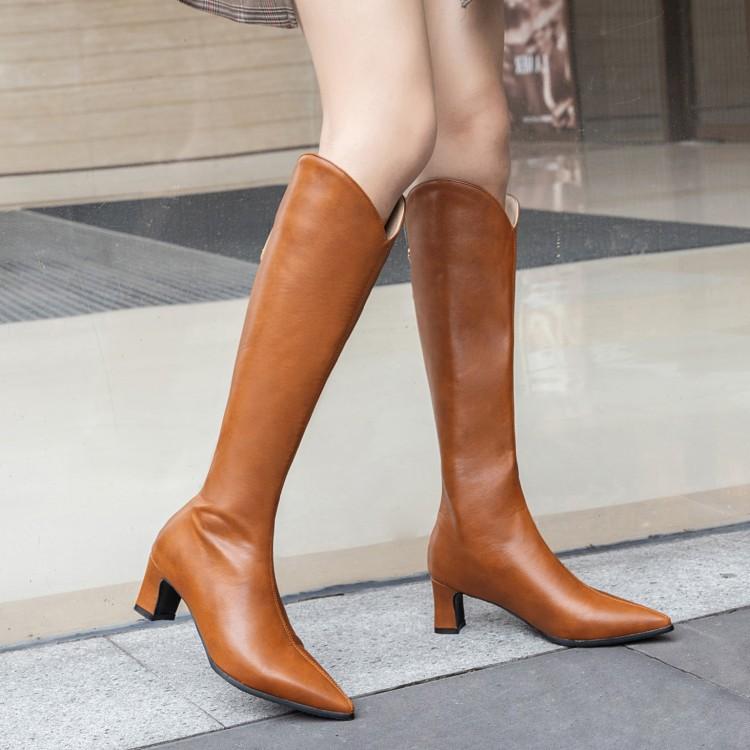 28-48码欧美女靴2019秋冬秋款加厚长靴尖头粗跟皮靴高筒靴T3835