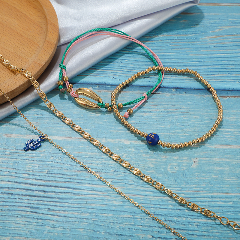 New Simple Blue Cactus Anklet Set Gold Bead Shell Anklet Set Wholesale NHGY195388