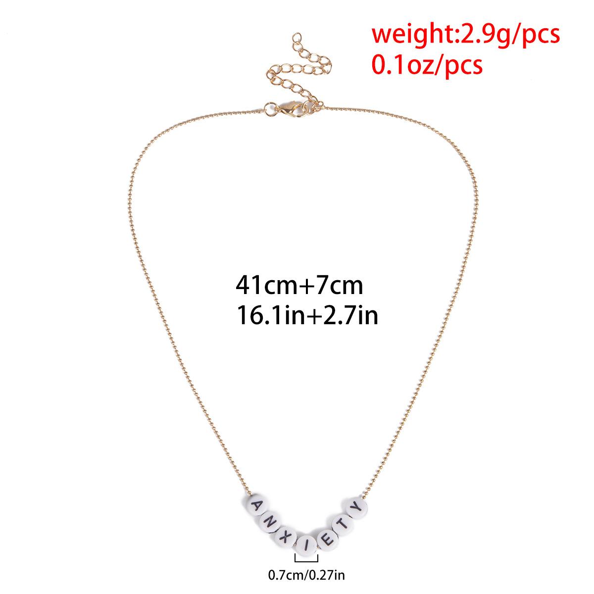 Simple square geometric letter pendant necklace NHXR141825