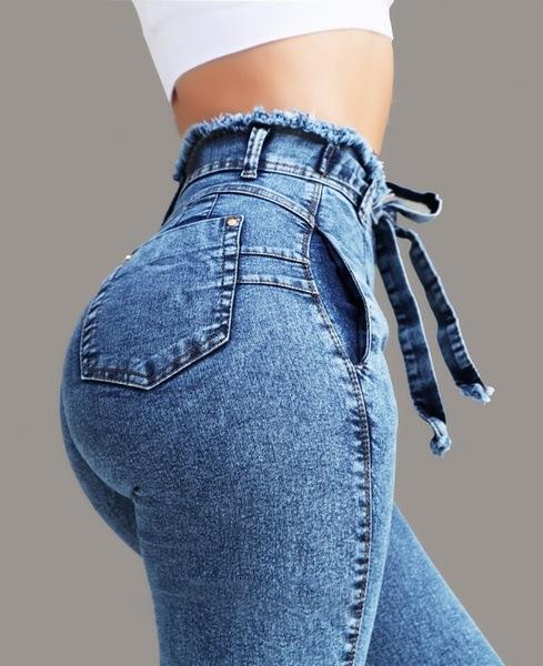 hot sale slim fit stretch fringed belt high waist jeans NSOL63684